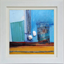 Harbour  mixed media on canvas 34cm x 34cm  Recollections of views across the picturesque Molyvos harbour on Lesvos, with its colourful, traditional fishing boats and the intensity of light on the water.