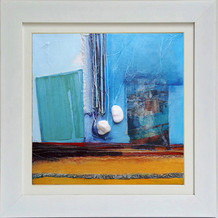 'Harbour'  mixed media on canvas 34cm x 34cm  Recollections of views across the picturesque Molyvos harbour on Lesvos, with its colourful, traditional fishing boats and the intensity of light on the water.