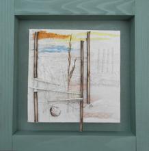 'Green Beach I'  mixed media on canvas 35cm x 35cm