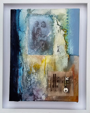 The Moon Fell Into The Room  mixed media on canvas 54cm x 43cm (framed)  A piece inspired by a family photograph taken during the early 1900's.  The artwork reflects a collection of thoughts and emotions, constructing and reconstructing elements of a forgotten history.