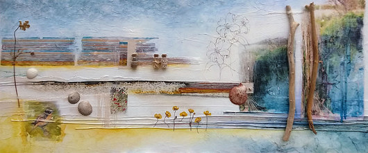 Porcelain Earth    (sold)  mixed media on canvas 120cm x 50cm    collage, photograph transfers, ink pen, acrylic paint, found objects.   'Porcelain Earth' is an observation of our local landscape and intends to draw attention to the finer details and the importance of being aware of the fragile beauty that surrounds us. More often than not, the smallest details create the bigger picture.