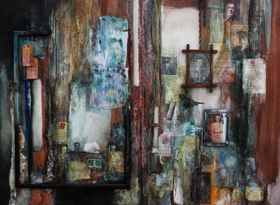 Home Thoughts From Abroad  mixed media on board  140cm x 100cm