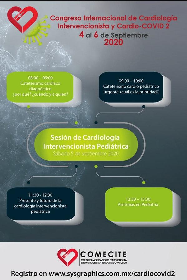Congreso del Colegio Mexicano de Cardiología Intervencionista y Terapia Endovascular a celebrarse (online) de 4 al 6 se septiembre del 2020