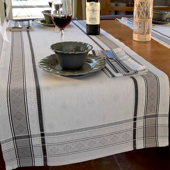 French table runner jacquard light grey callas