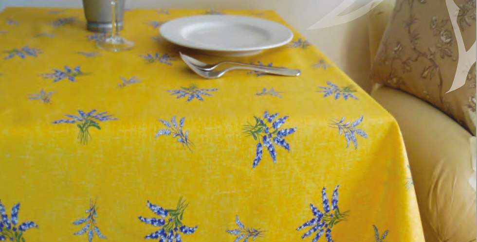 Yellow Valensole All Over Coated Cotton Tablecloths