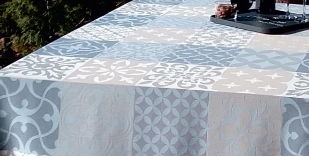 Blue/Grey Carces Jacquard Woven Tablecloths