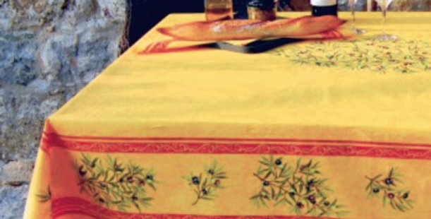 Yellow Clos Des Oliviers Center Design Coated Cotton Tablecloths