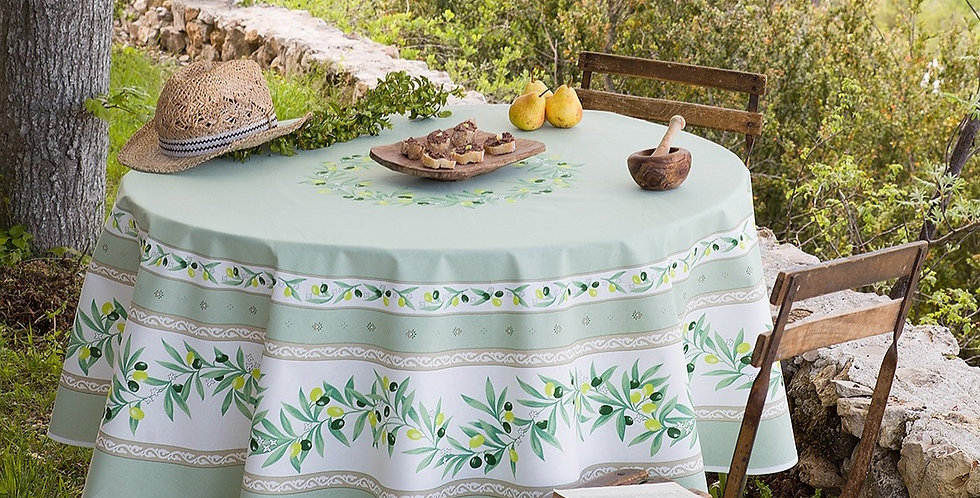 "Green Ramatuelle 70"" Round Coated Cotton Tablecloth"