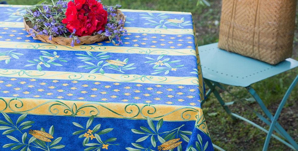 French Tablecloth Coated Striped Blue Cigale