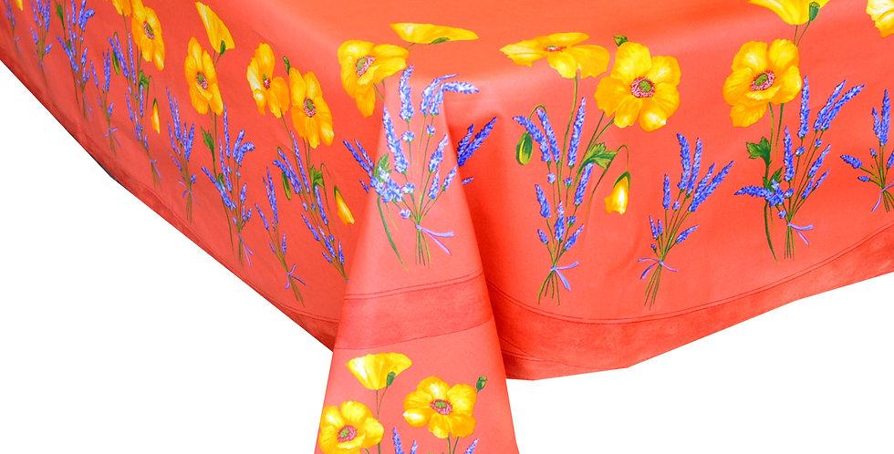 French Tablecloth Coated Orange Poppy