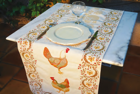 French table runner jacquard tapestry chanteclair