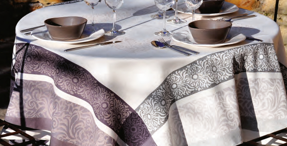 Ecru/Grey Bargeme Jacquard Woven Tablecloth