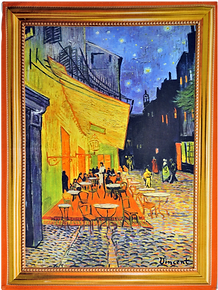 French kitchen towels cotton van gogh cafe at night