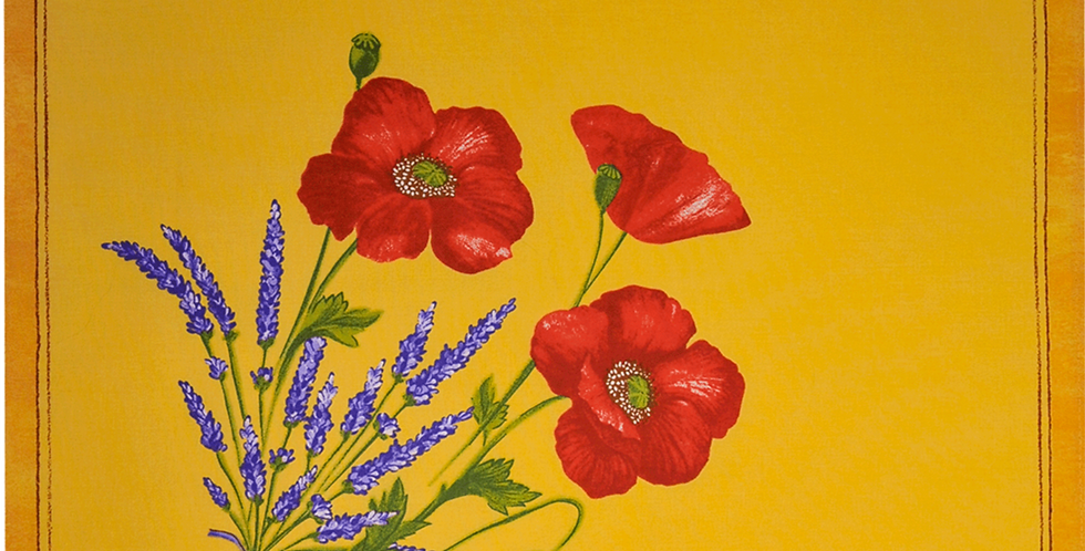 Yellow Poppy & Lavender Printed Cotton Napkin