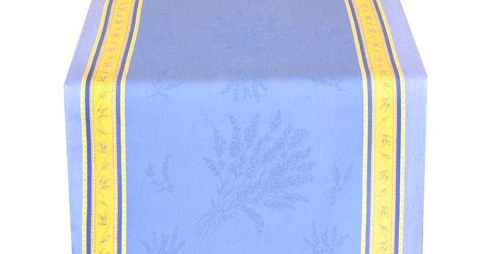 Blue/Yellow Senanque Jacquard Woven Table Runner