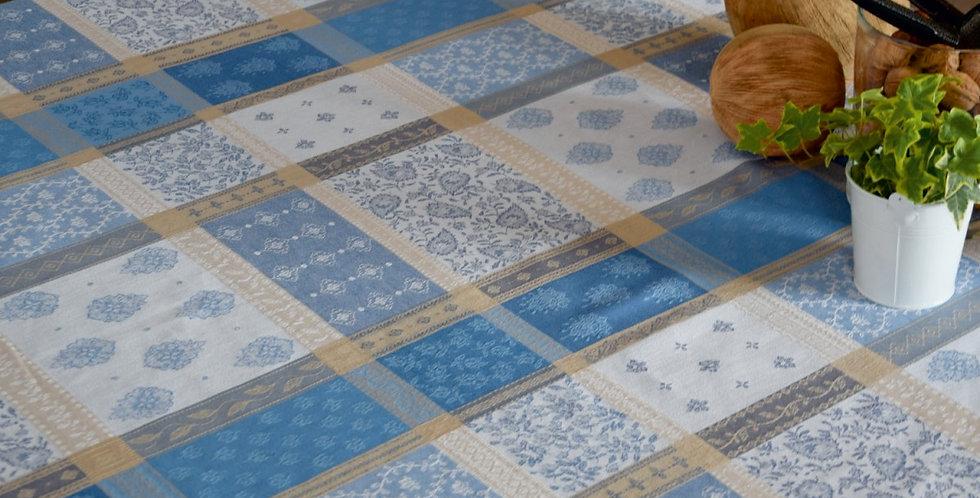 Blue/Beige Valescure Jacquard Woven Tablecloths