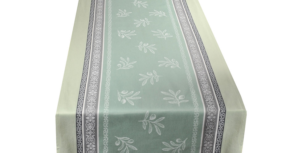 Green Olivia Jacquard Woven Table Runner