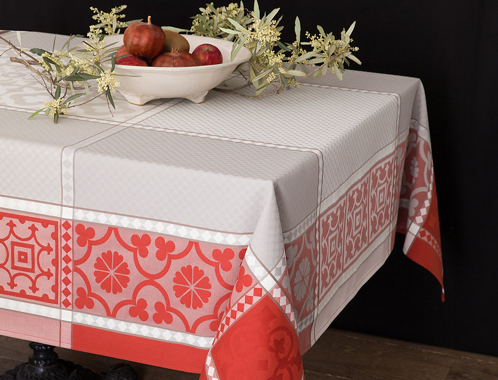 Red Marius Jacquard Woven Tablecloths