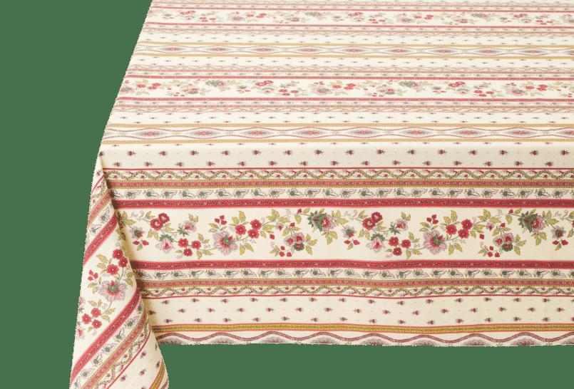 Ecru/Rose Avignon Coated Cotton Tablecloths