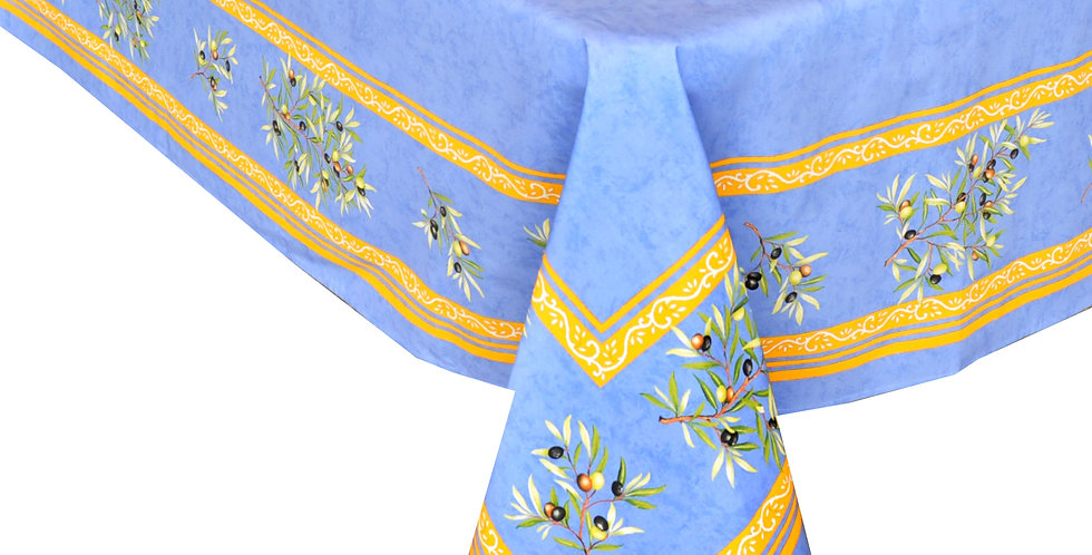 Blue Clos Des Oliviers Center Design Coated Cotton Tablecloth