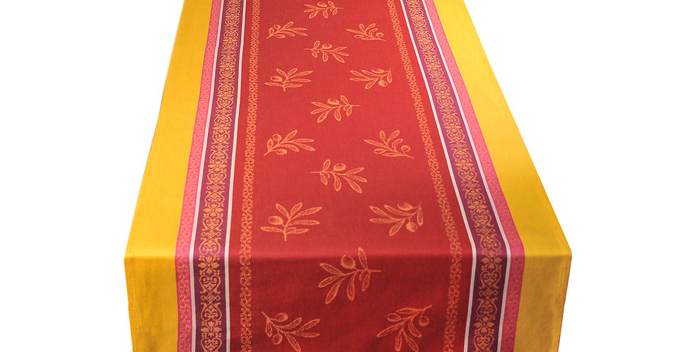 Red/Yellow Olivia Jacquard Woven Table Runner
