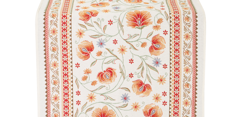 Ecru/Orange Sillans Jacquard Tapestry Table Runner