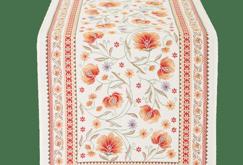 Ecru/Orange Sillans Jacquard Tapestry Table Runner