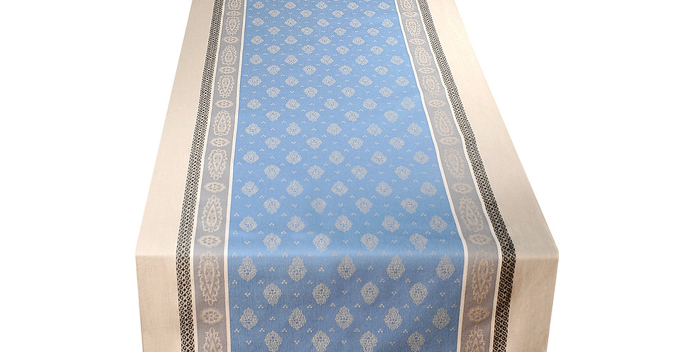 Blue/Grey Vaucluse Jacquard Woven Table Runner