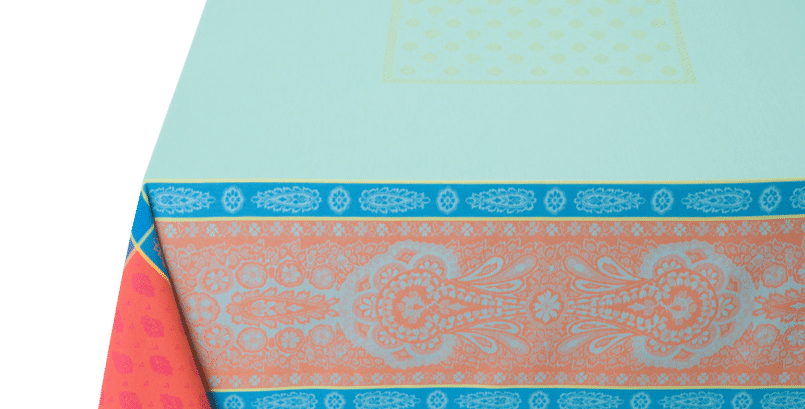 Turquoise Vaucluse Jacquard Woven Tablecloths