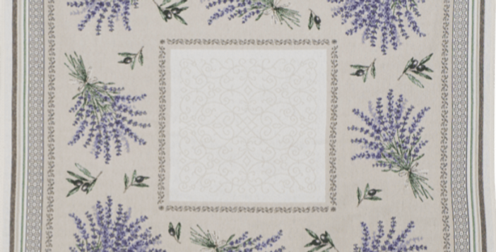 Ecru/Lavender Castillon Jacquard Tapestry Table Topper