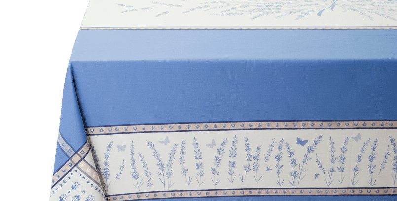 Ecru/Blue Grignan Jacquard Woven Tablecloths