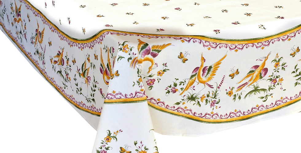 Rose Moustiers Center Design Coated Tablecloth