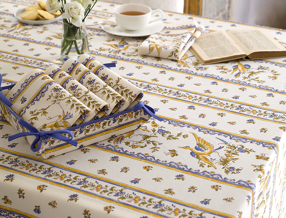 Blue Moustiers Striped Coated Cotton Tablecloths