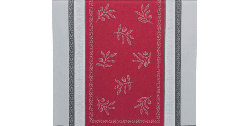 Red/Grey Olivia Jacquard Woven Table Runner