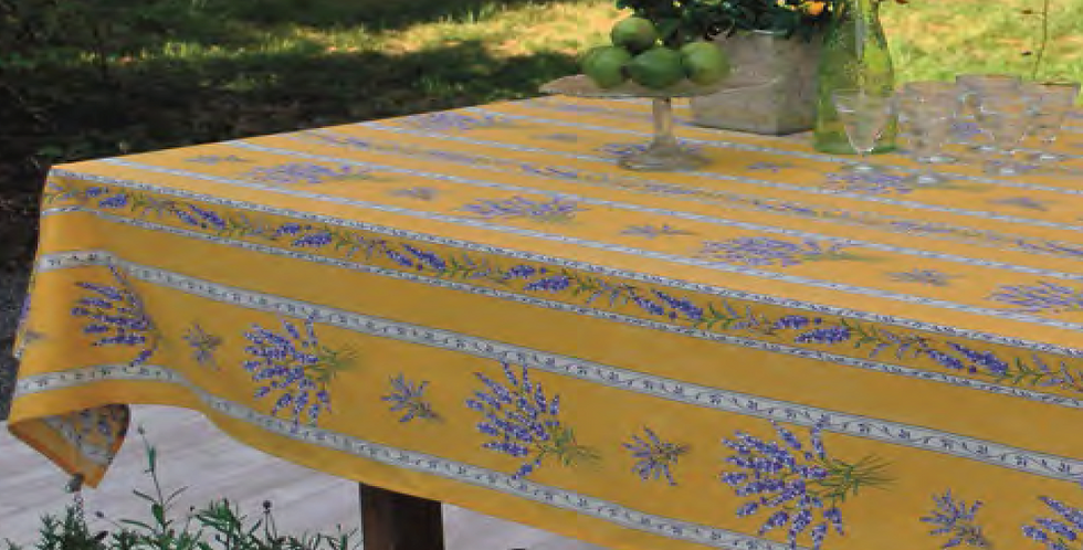 Yellow Valensole Striped Coated Cotton Tablecloths
