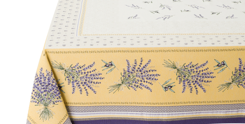 Yellow/Lavender Castillon Jacquard Tapestry Tablecloth