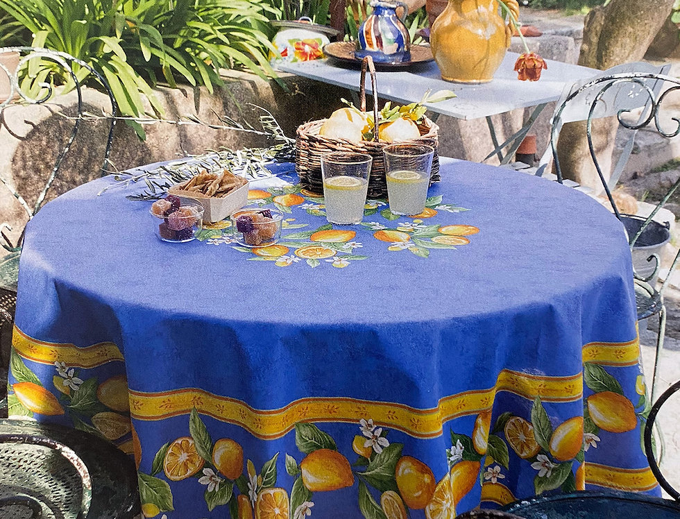 Blue Citron Round Coated Cotton Tablecloths
