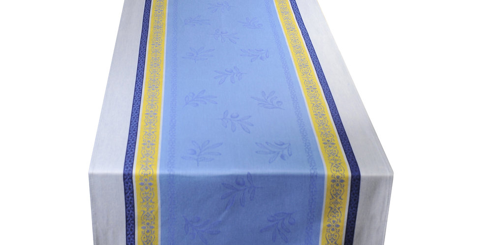 Blue/Yellow Olivia Jacquard Woven Table Runner
