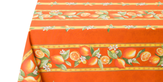 French Tablecloth Coated Striped Orange Citron