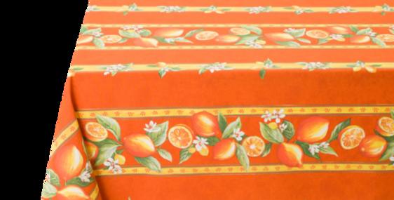 Orange Citron Striped Coated Tablecloths