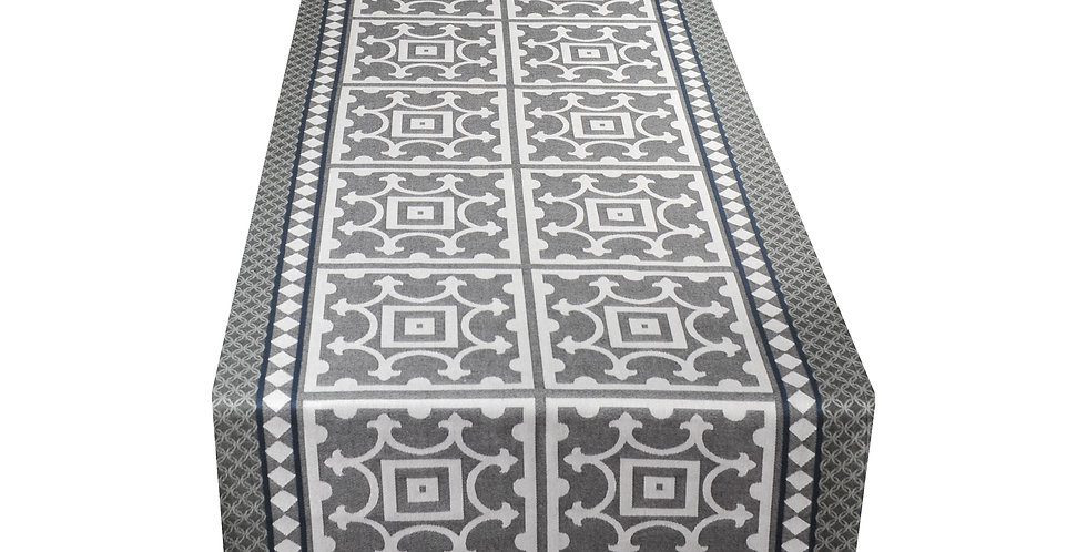 Black Marius Jacquard Woven Table Runner