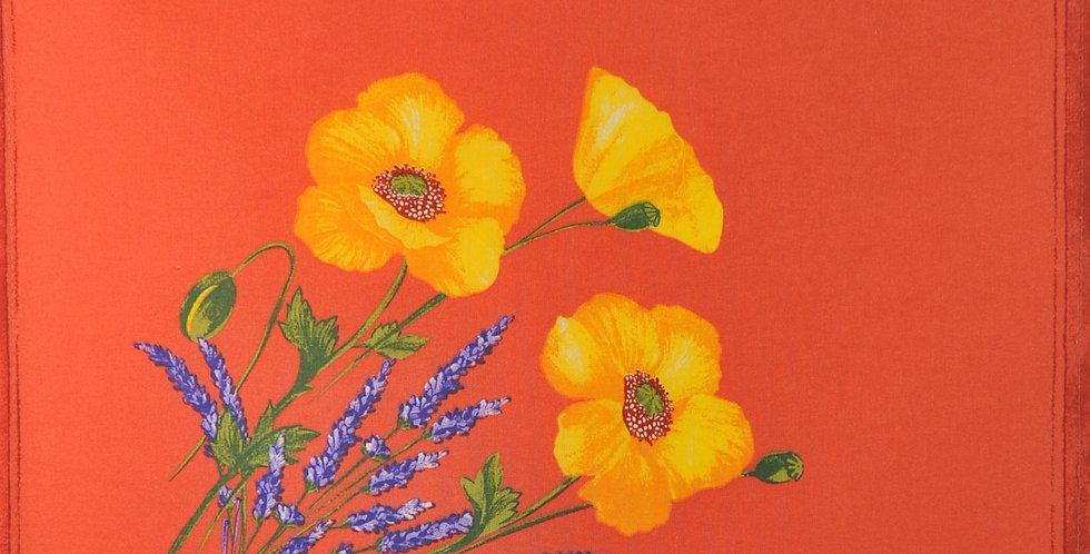 Orange Poppy & Lavender Printed Cotton Napkin