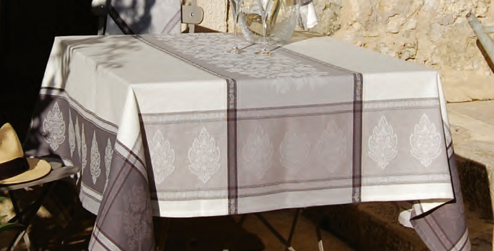 Grey Caprice Jacquard Woven Tablecloths