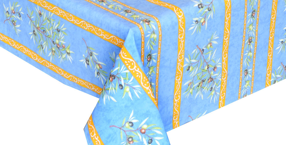 """Blue Clos des Oliviers 60"""" x 140"""" Coated Tablecloth"""