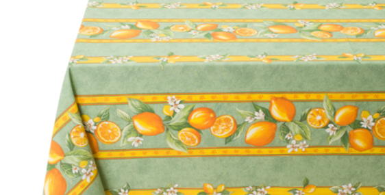 "Green Citron 60"" x 140"" Coated Tablecloth"