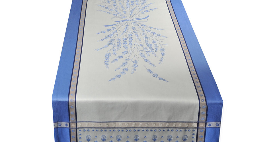 Ecru/Blue Grignan Jacquard Woven Table Runner