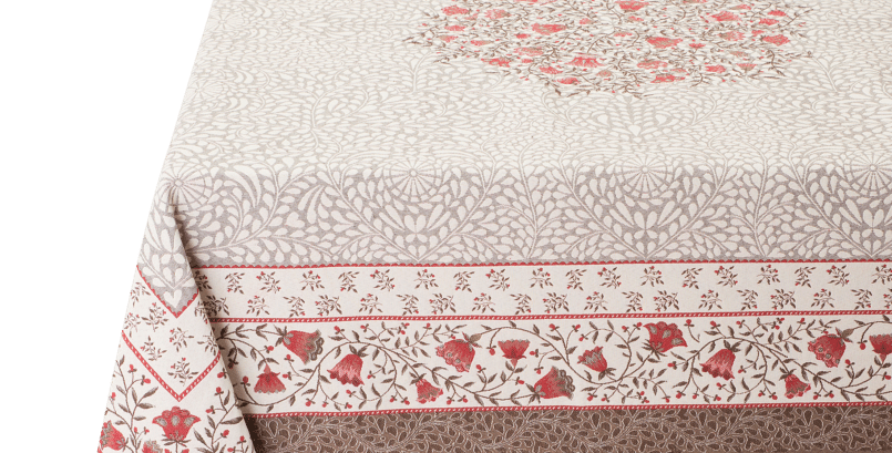 Taupe/Red Aubrac Jacquard Tapestry Tablecloth