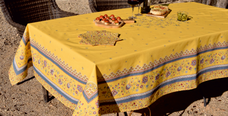 Yellow Beaucaire Coated Cotton Tablecloths
