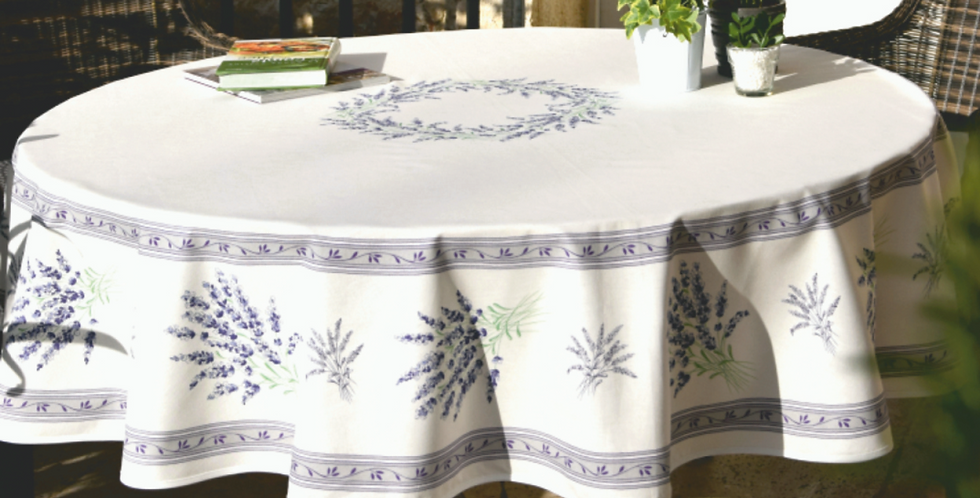 "Ecru Valensole 70"" Round Coated Cotton Tablecloth"