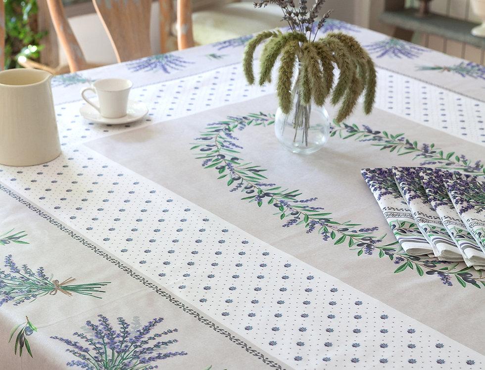 Ecru Lauris Coated Cotton Tablecloths